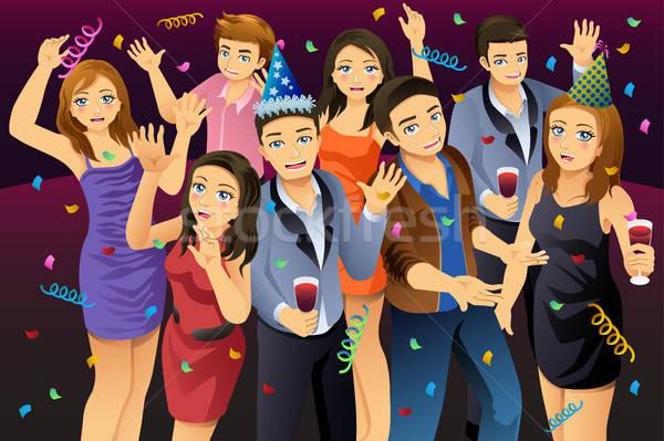 Młodych ludzi nowy rok strony ilustracja szczęśliwy mężczyzn Zdjęcia stock © artisticco