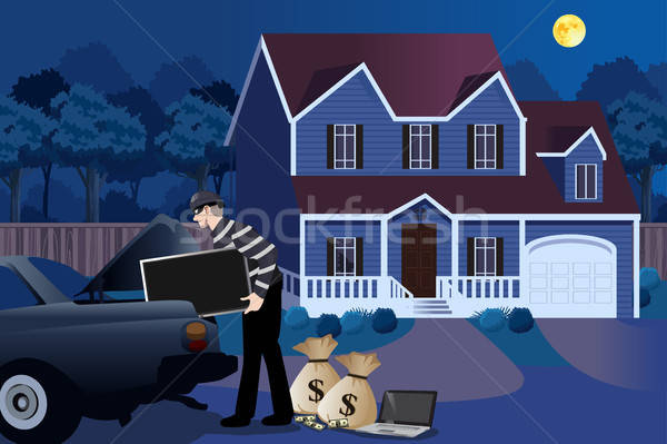 Burglar Stealing From a House Illustration Stock photo © artisticco
