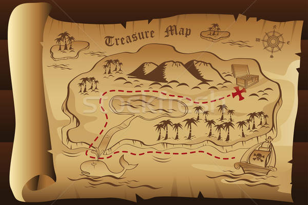 Treasure map fundal munte ocean epocă desen Imagine de stoc © artisticco