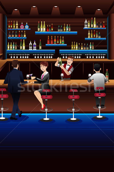 Bartender working in a bar Stock photo © artisticco