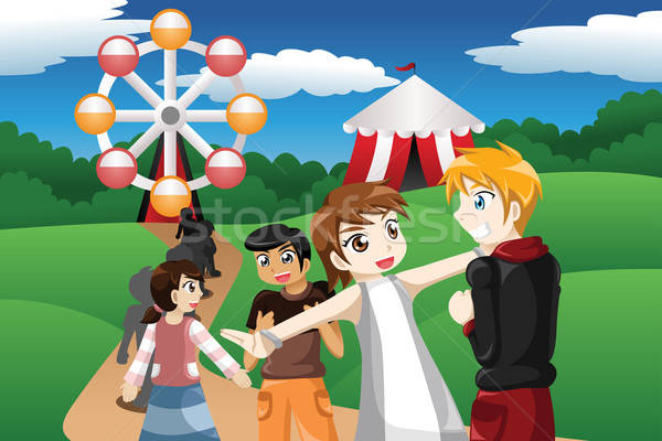 Kids waiting in line in an amusement park Stock photo © artisticco