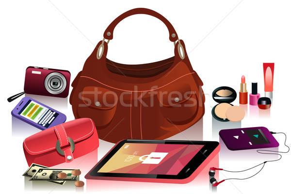Details moderne zak vrouwelijke geld tekening Stockfoto © artisticco