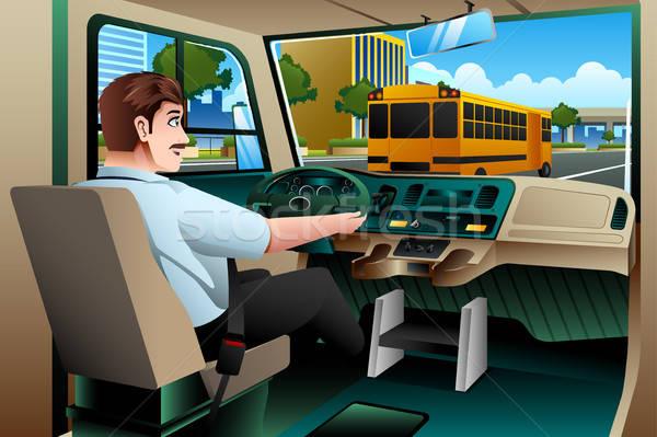 Iskolabusz sofőr vezetés busz iskola város Stock fotó © artisticco