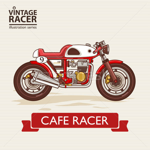 Klasszikus versenyzés motorkerékpár bicikli rajz Stock fotó © artisticco
