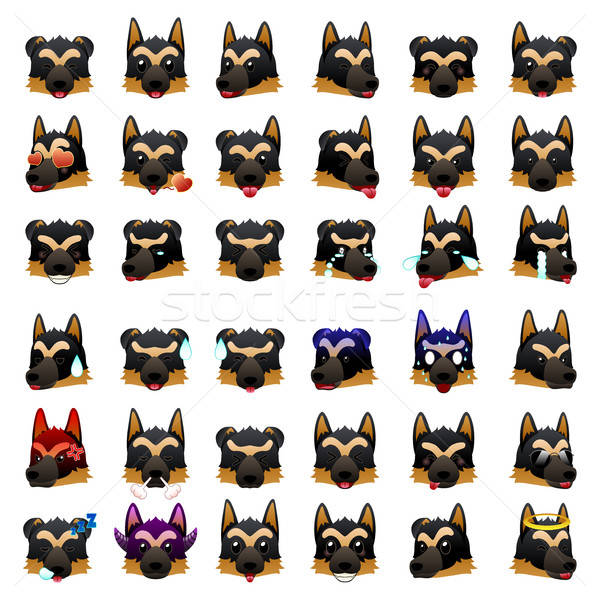 German Shepherd Dog Emoji Emoticon Expression Stock photo © artisticco