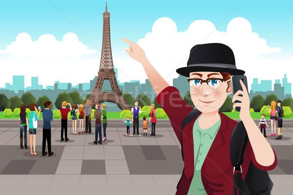 туристических фотография Эйфелева башня женщину Сток-фото © artisticco