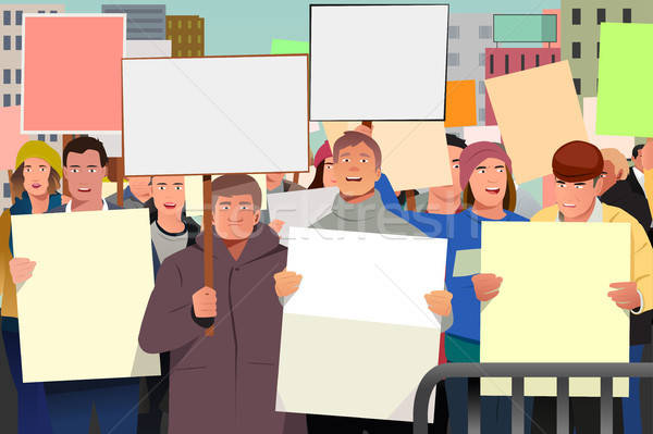 Mensen demonstratie illustratie man menigte Stockfoto © artisticco
