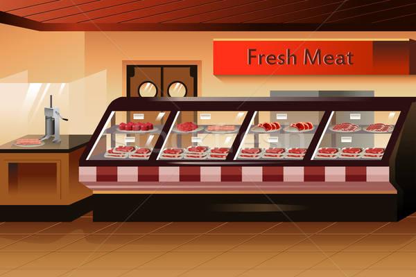 Sklep spożywczy mięsa sekcja przestrzeni sklep supermarket Zdjęcia stock © artisticco