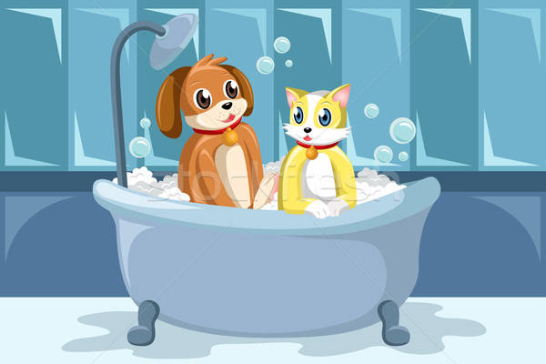 Pets washing themselves in the bathtub Stock photo © artisticco