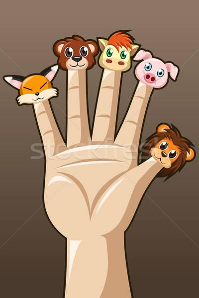 марионеточного пальцы милые животные дети игрушками рисунок Сток-фото © artisticco