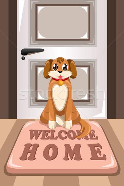 Cute dog sitting on a mat Stock photo © artisticco