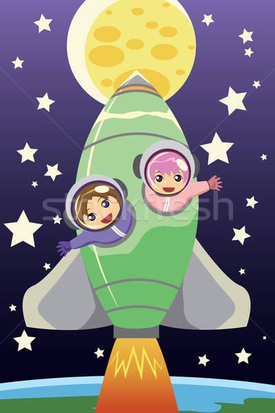 Kinderen paardrijden raket meisje maan ruimte Stockfoto © artisticco