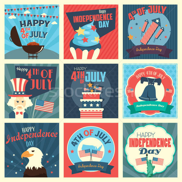 Negyedik ikonok nap ikon torta nyár Stock fotó © artisticco
