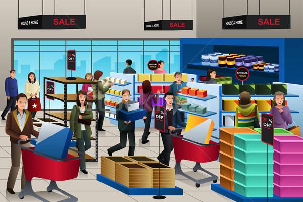 Mensen winkelen black friday store man jonge Stockfoto © artisticco