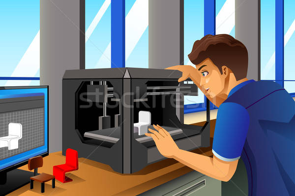 Man Using a 3D Printer Stock photo © artisticco