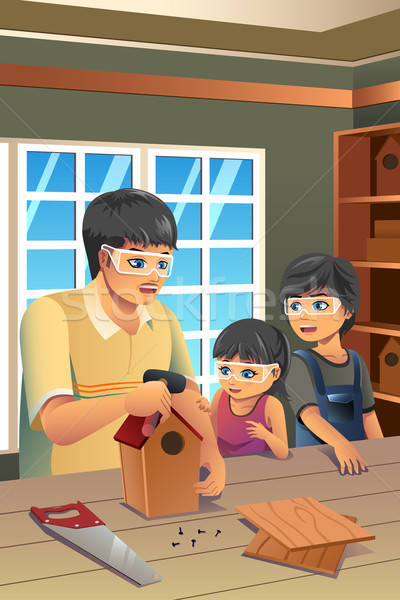 Father Kids Making Birdhouse Stock photo © artisticco