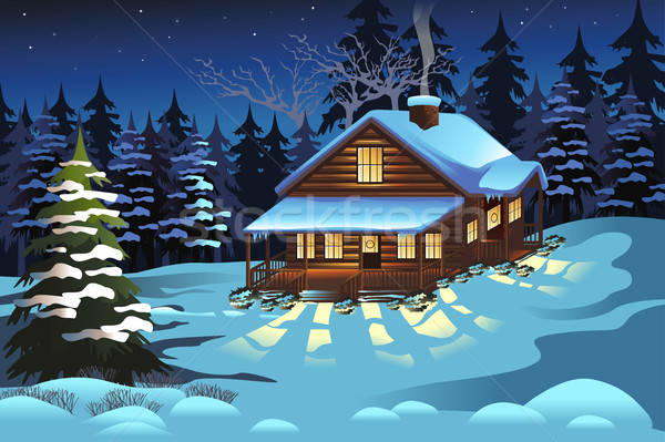 Cabin in the Woods During Winter Season Stock photo © artisticco