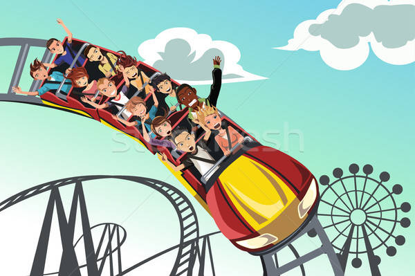 People riding roller coaster Stock photo © artisticco