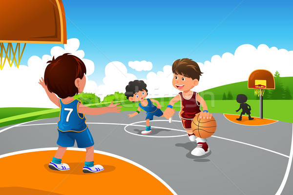 Kinder spielen Basketball Spielplatz glücklich Sport Fitness Stock foto © artisticco