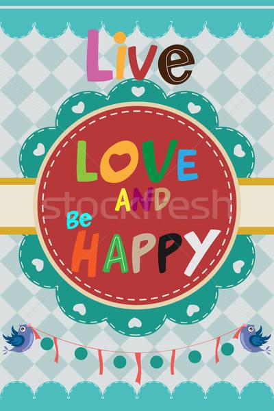 Vivir amor feliz diseno aves animales Foto stock © artisticco