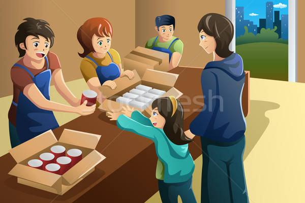 Csapat önkéntes dolgozik étel adomány központ Stock fotó © artisticco