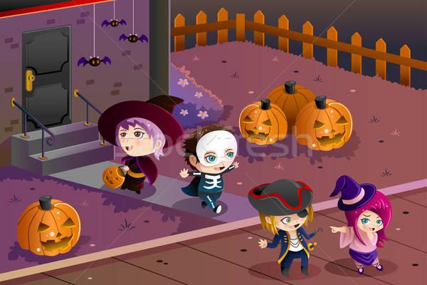 Kids wearing Halloween costumes Stock photo © artisticco