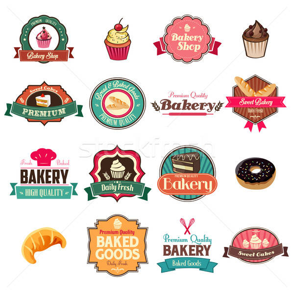Vintage bakery collection of icons and tags Stock photo © artisticco
