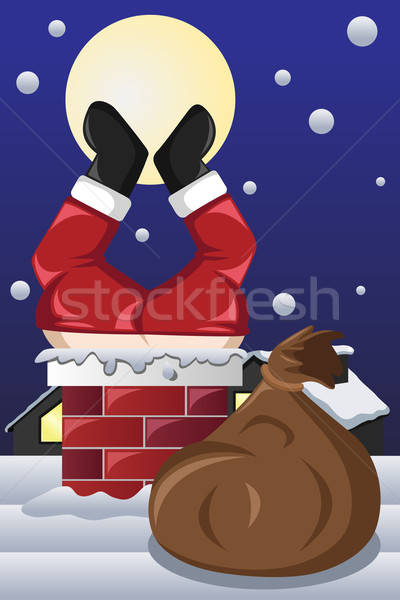 Santa Claus stuck in a chimney  Stock photo © artisticco