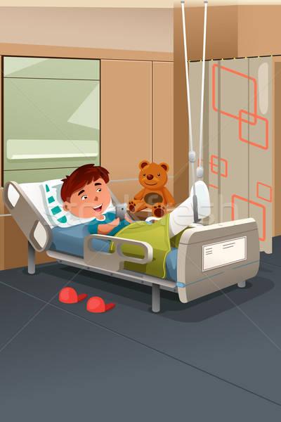 Gyerek törött láb kórház gyermek fiatalság rajz Stock fotó © artisticco
