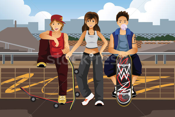 Young people hanging out outside with skateboard Stock photo © artisticco