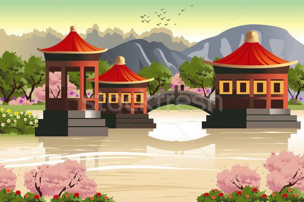Cinese panorama architettura wallpaper asian disegno Foto d'archivio © artisticco