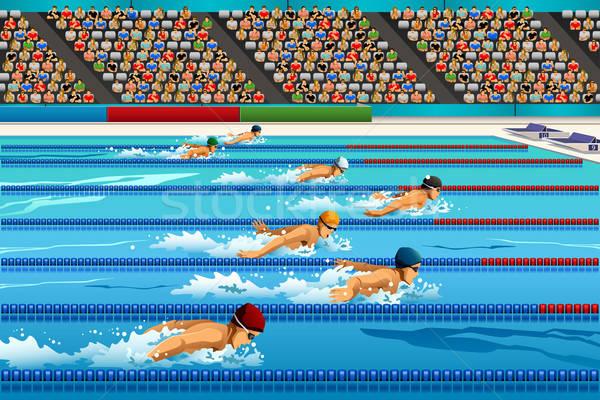 Natación competencia deporte fitness piscina jóvenes Foto stock © artisticco