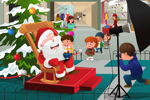 Kids Lining Up to Take Pictures with Santa Claus Stock photo © artisticco