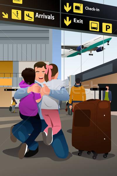 子供 父 再会 空港 少女 少年 ストックフォト © artisticco