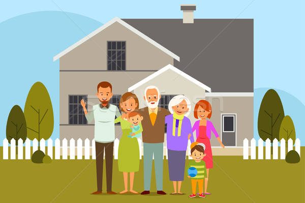 Multi Generation Family in Front of a House Stock photo © artisticco