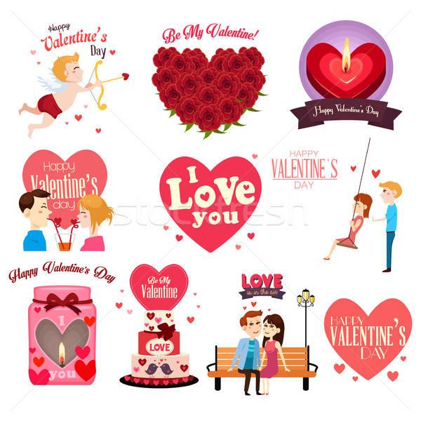 Photo stock: Saint · valentin · femme · coeur · couple