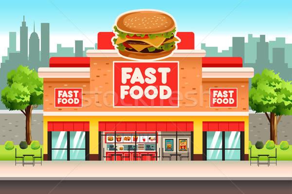 Fastfood restaurant cafe tekening cartoon hamburger hamburger Stockfoto © artisticco