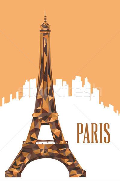 Eiffel-torony poszter illusztráció terv rajz szalag Stock fotó © artisticco