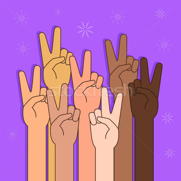 People With Peace or Victory Sign Illustration Stock photo © artisticco
