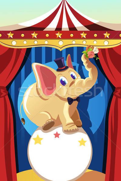 Circo elefante piedi palla design rose Foto d'archivio © artisticco