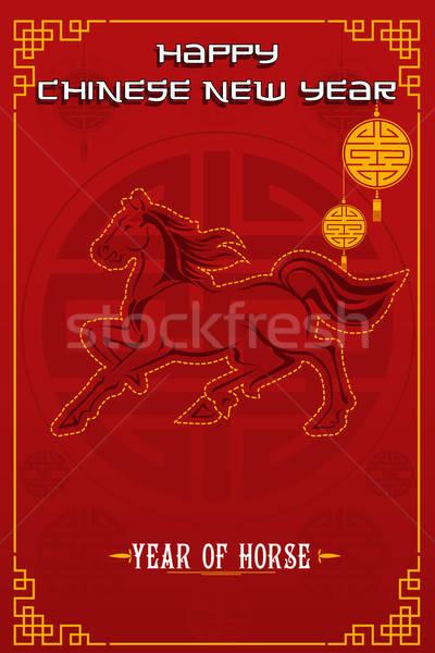 Kínai új év terv év ló ünneplés arany Stock fotó © artisticco