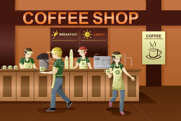 Emekçi halkın kahvehane iş kız erkekler kafe Stok fotoğraf © artisticco