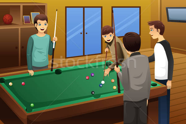 Fiatalok játszik biliárd együtt mosoly sport Stock fotó © artisticco