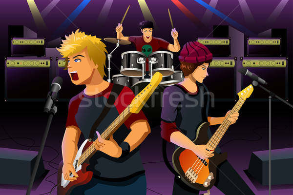 Teenagers in a rock band Stock photo © artisticco