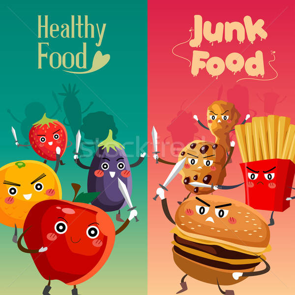 Aliments sains aliments malsains alimentaire fruits cartoon Burger Photo stock © artisticco