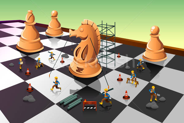 Workers Building a Knight Chess on the Chessboard Stock photo © artisticco