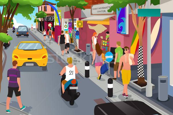 туристических ходьбе вокруг сувенир магазины женщину Сток-фото © artisticco