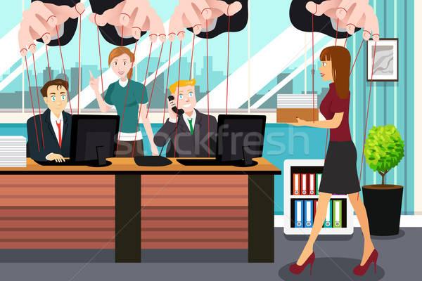 üzletemberek akasztás ahogy marionett fonal lány Stock fotó © artisticco