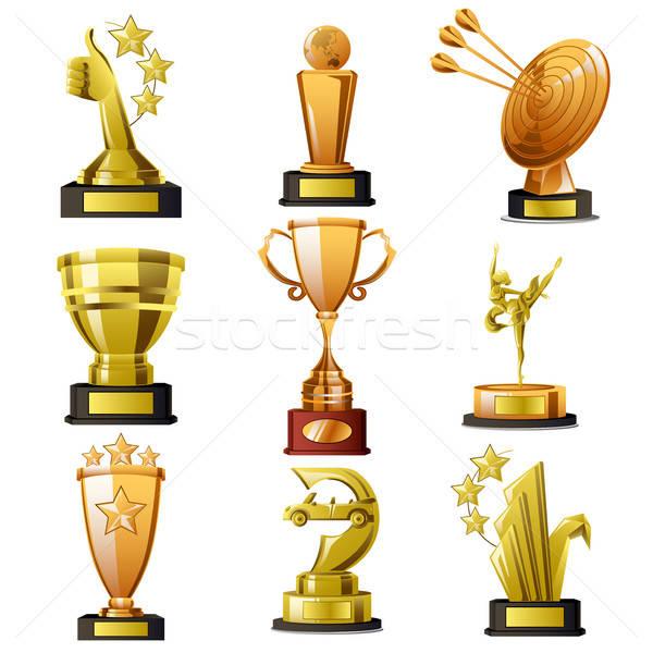 Oro ganar trofeo diseños taza ganador Foto stock © artisticco
