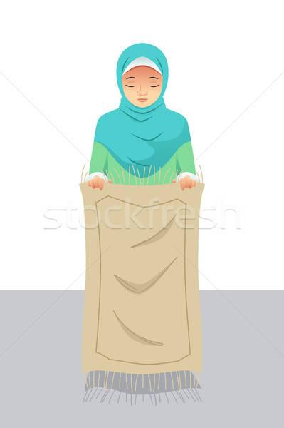 Musulmanes mujer rezando oración femenino dibujo Foto stock © artisticco
